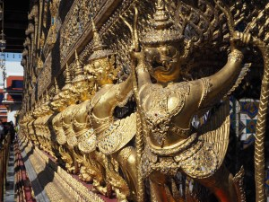 Guardian deities outside the Temple of the Emerald Buddha Complex
