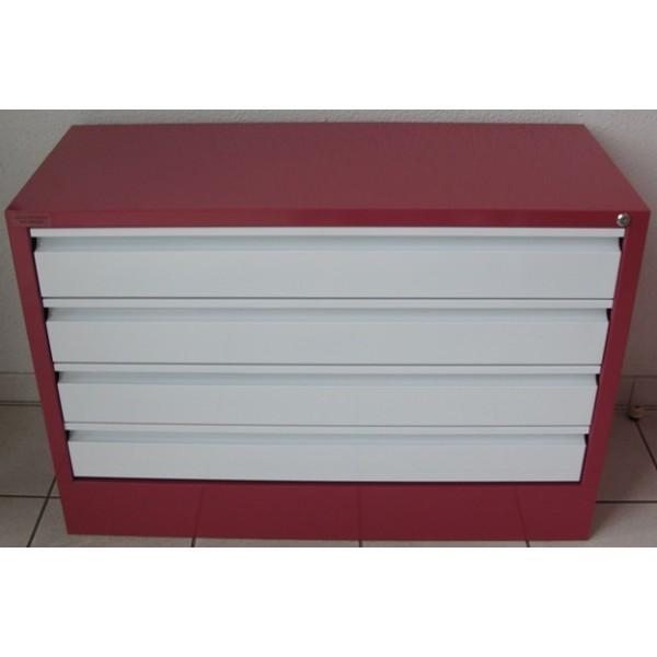 meuble metallique l80cm 4 tiroirs a amenager a la carte avec garnissage des tiroirs en option