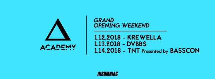 Academy Nightclub opening weekend lineup poster