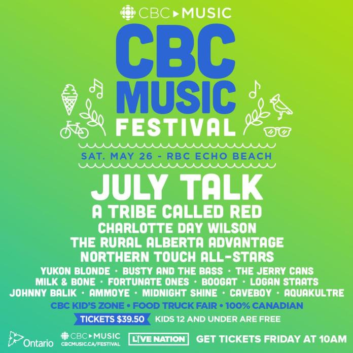 CBC Music Festival lineup poster