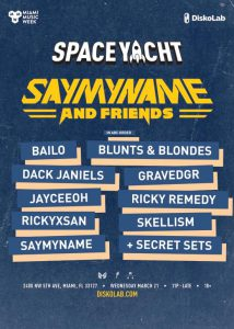 say my name space yacht lineup poster c&l warehouse miami music week