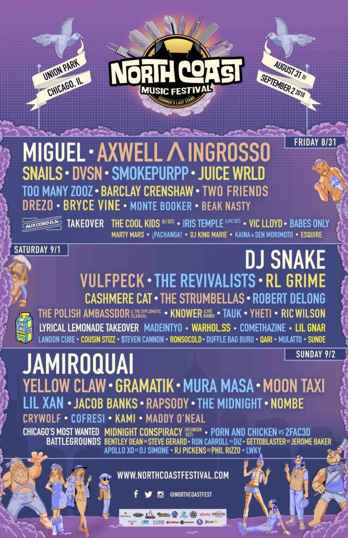 North Coast Music Festival 2018 lineup poster
