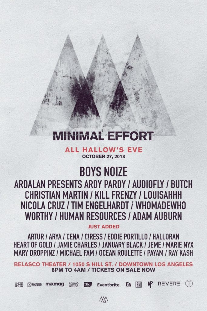 Minimal Effort All Hallow's Eve 2018 lineup poster