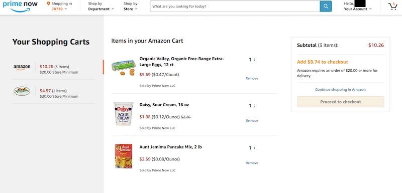 Amazon Prime Now Shopping Cart