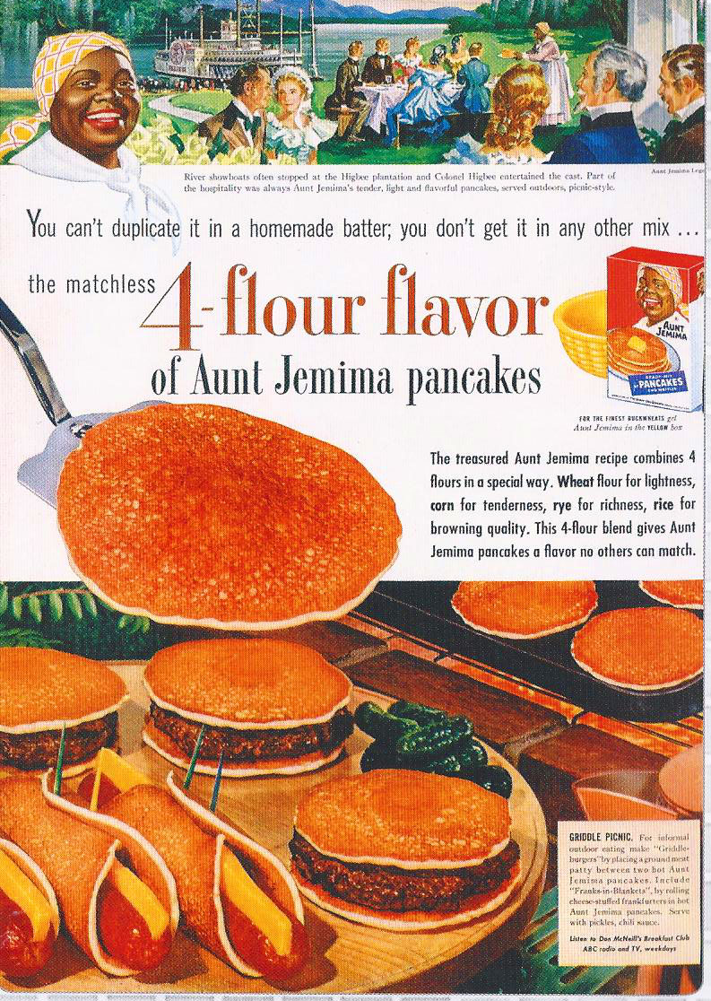Cheese stuffed frankfurters in hot aunt jemima pancakes four in the antebellum days river showboats would pull up to aunt jemimas plantation and she would serve them hamburger and fankfurter pancakes ccuart Images