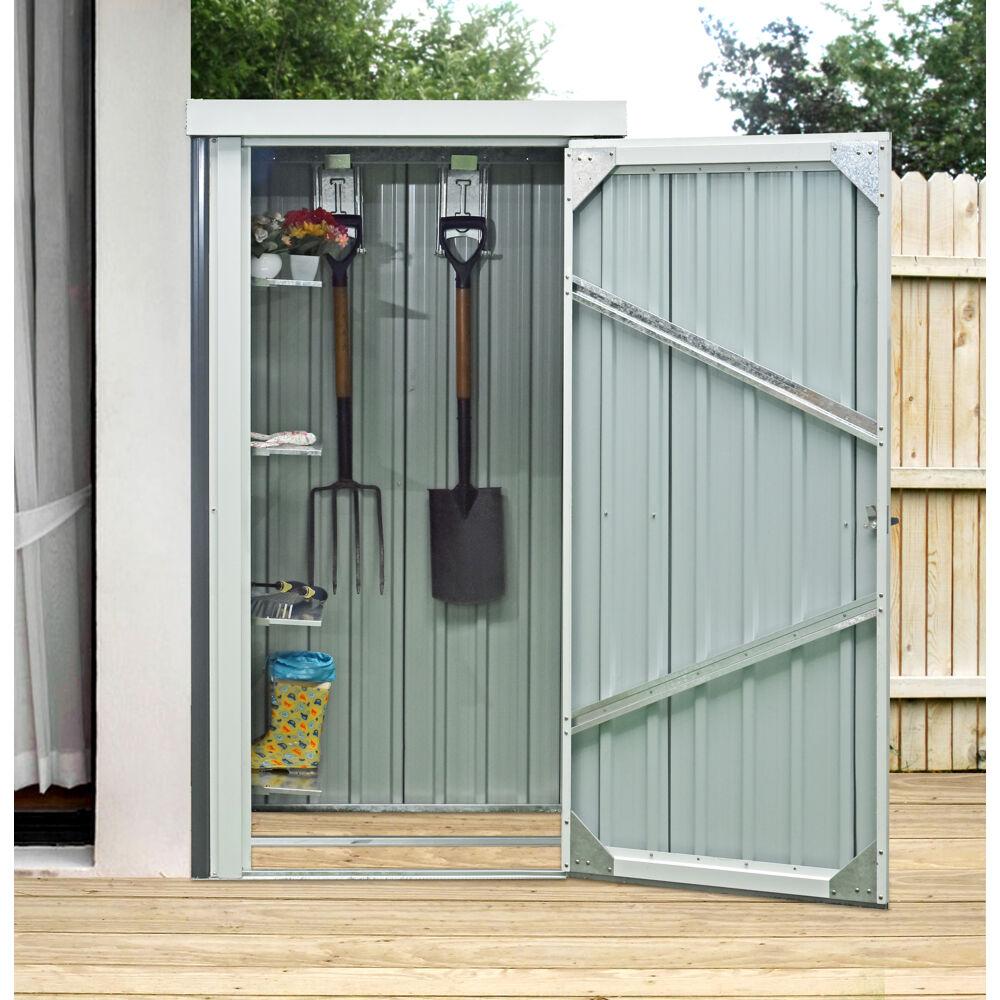 hanover 3 ft x 3 ft x 6 ft galvanized steel patio storage shed with twist lock and 2 tool hooks dark gray white hanpatshd gw