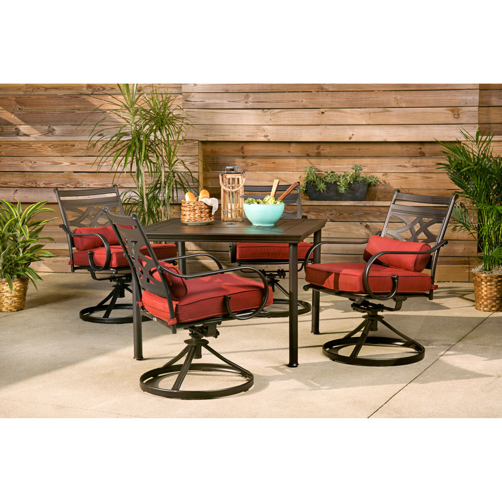 hanover montclair 5 piece patio dining set in chili red with 4 swivel rockers and a 40 inch square table mclrdn5pcsqsw4 chl