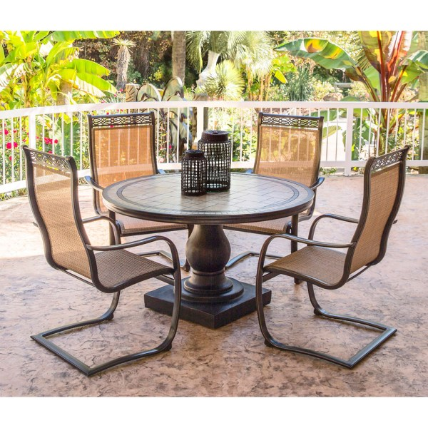 Monaco 5PC Outdoor Dining Set with C-Spring Chairs and ...