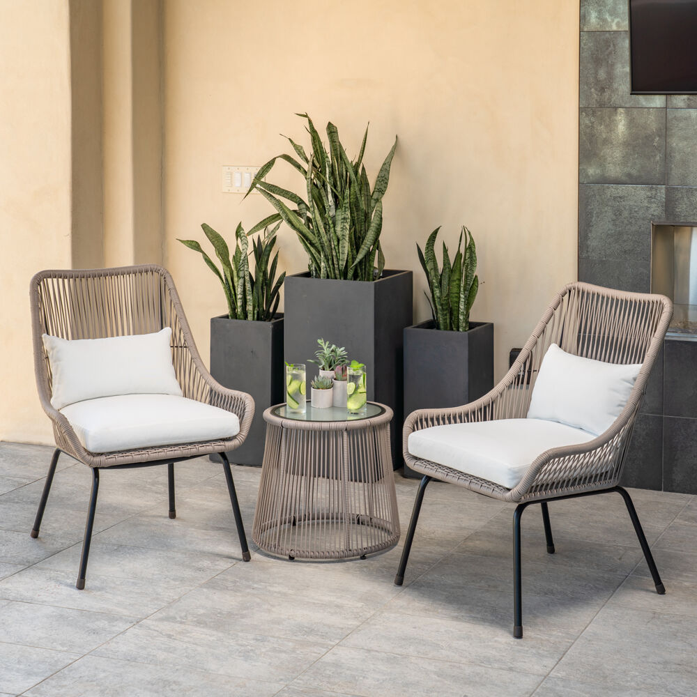 mod furniture shae 3 piece modern boho outdoor bistro set with hand woven wicker chairs with white cushions and glass top side table shae3pc wht