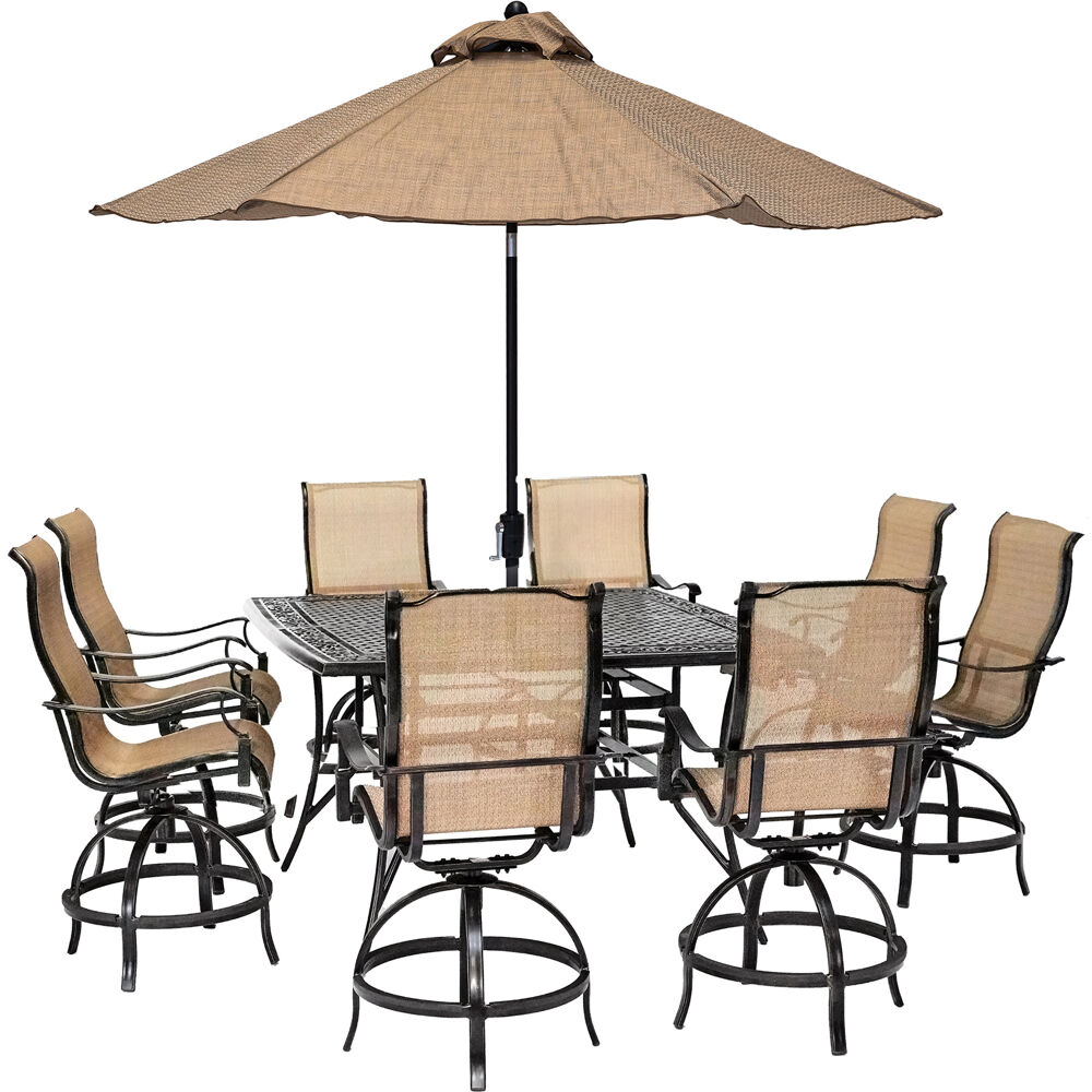 hanover manor 9 piece counter height outdoor dining set with 8 sling swivel chairs 60 in cast top table umbrella and stand mandn9pcsq br su