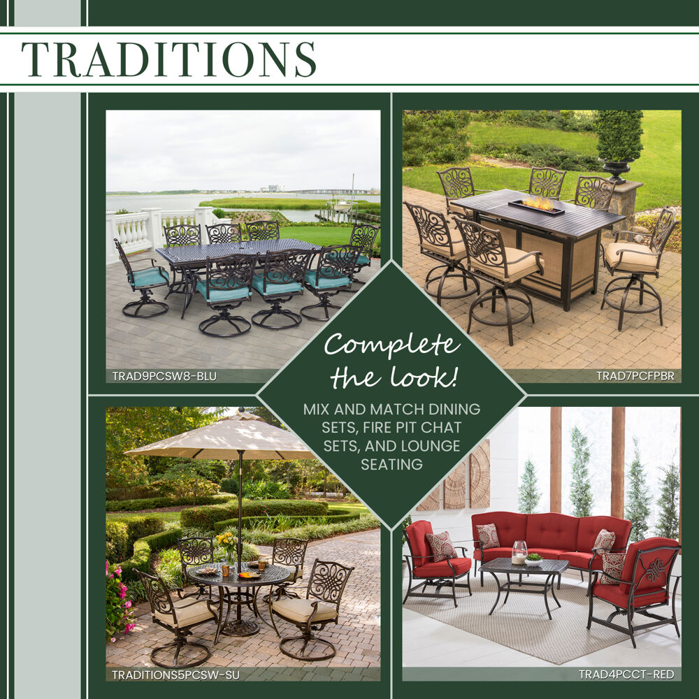 hanover traditions 7 piece outdoor dining set in tan with 5 swivel rockers a cushioned bench and a 42 x 84 glass top table traddn7pcsw5gbn tan