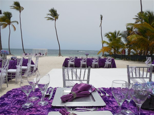 Dreams Palm Beach purple wedding setup