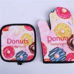 Mode mignon de crème glacée Four Mitts Donuts Motif isolé Tapis de cuisson micro-ondes de cuisson BBQ Four maniques Gants de cuisine (Color : Cookies)