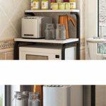 ZJDK Étagères de Fournitures de Cuisine Panneau de Tube carré galvanisé Style Simple et Moderne Étagères de Plancher de Perforation gratuites Support à Micro-Ondes à 3 Couches Plats de Rangement