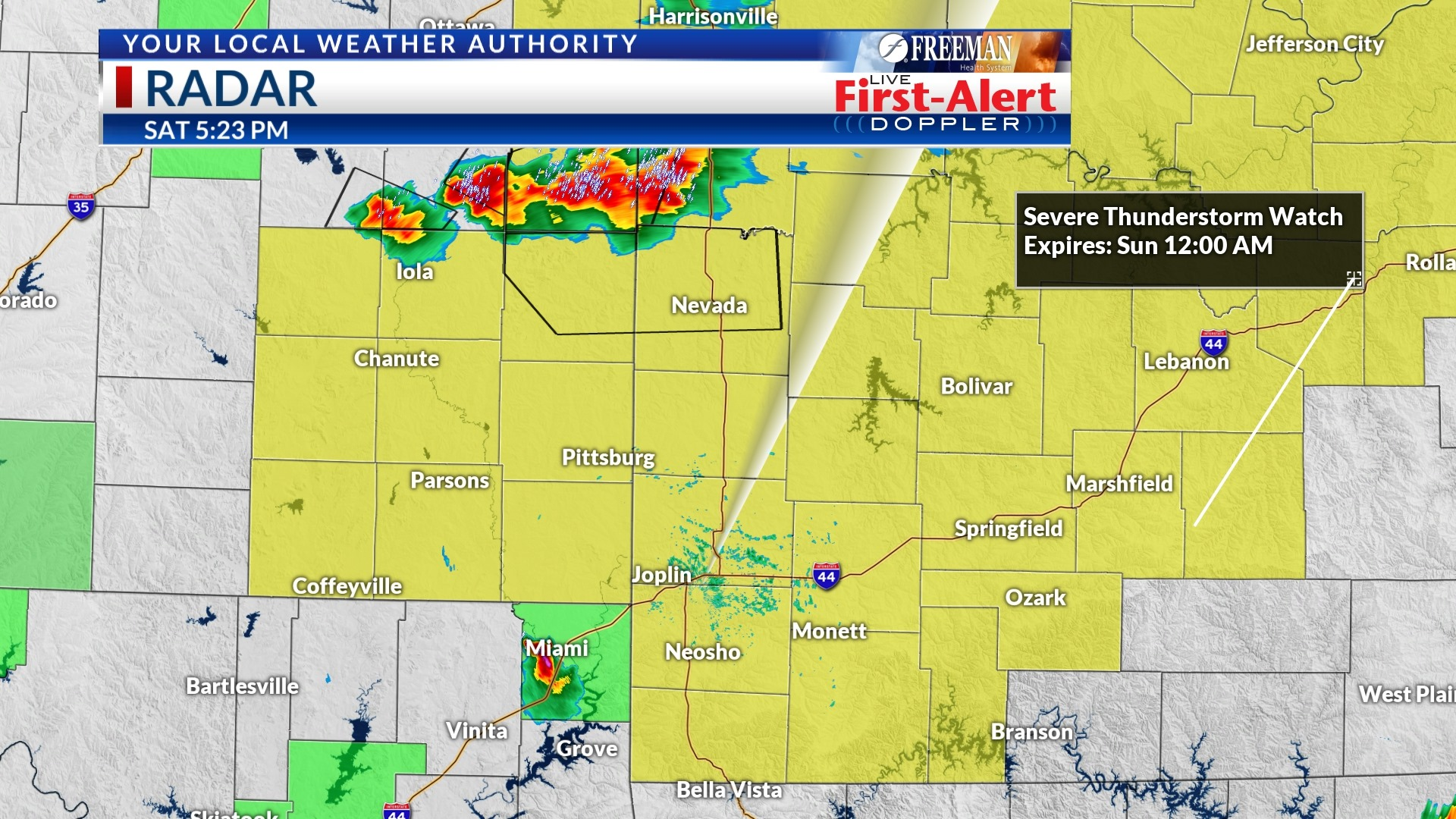 A Severe Thunderstorm Watch is in effect for SW Missouri and