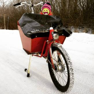 Bakfiets, kid & snow, cargo bike, Stockholm, Sweden