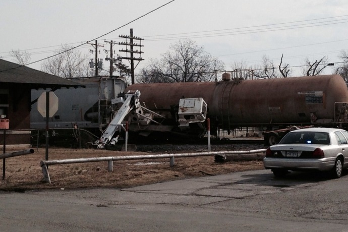 Crane tossed off truck hit by train in Beebe Feb. 10._2155502842188743197