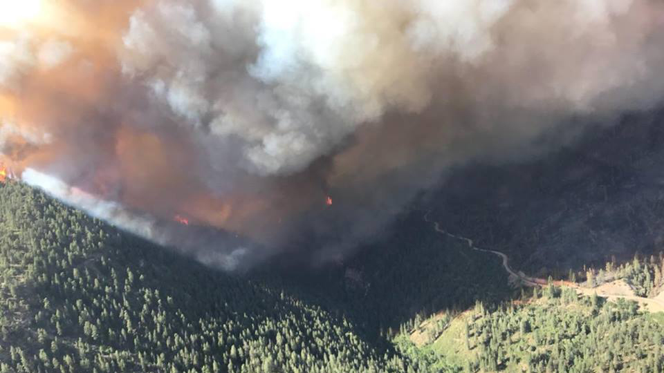The 416 Fire burns in the Hermosa Creek drainage area on Sunday, June 11. Photo courtesy 416 Fire on Facebook