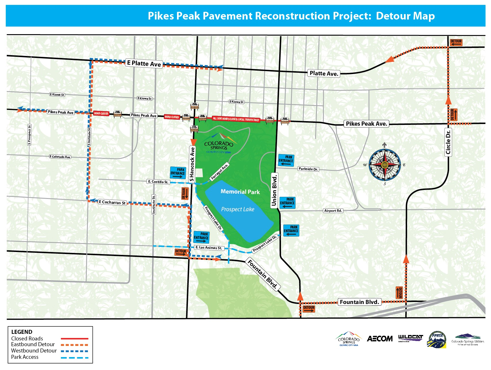 Map shows detours in the area of Pikes Peak Avenue and Hancock Avenue starting Wednesday. City of Colorado Springs