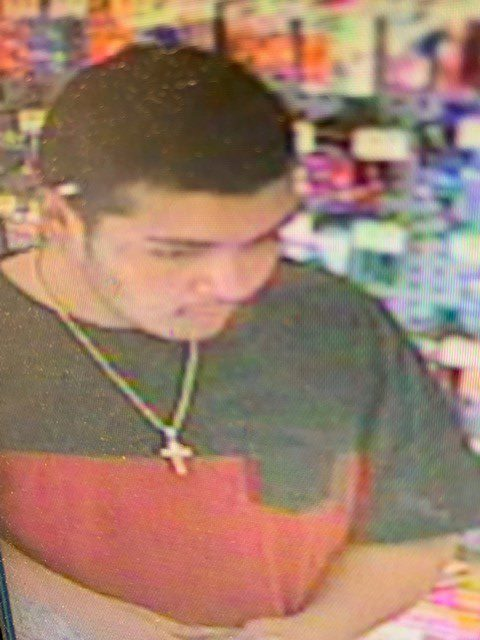 Surveillance image shows one of the two people accused of being involved in a carjacking at a Pueblo gas station Tuesday afternoon. Pueblo Police De