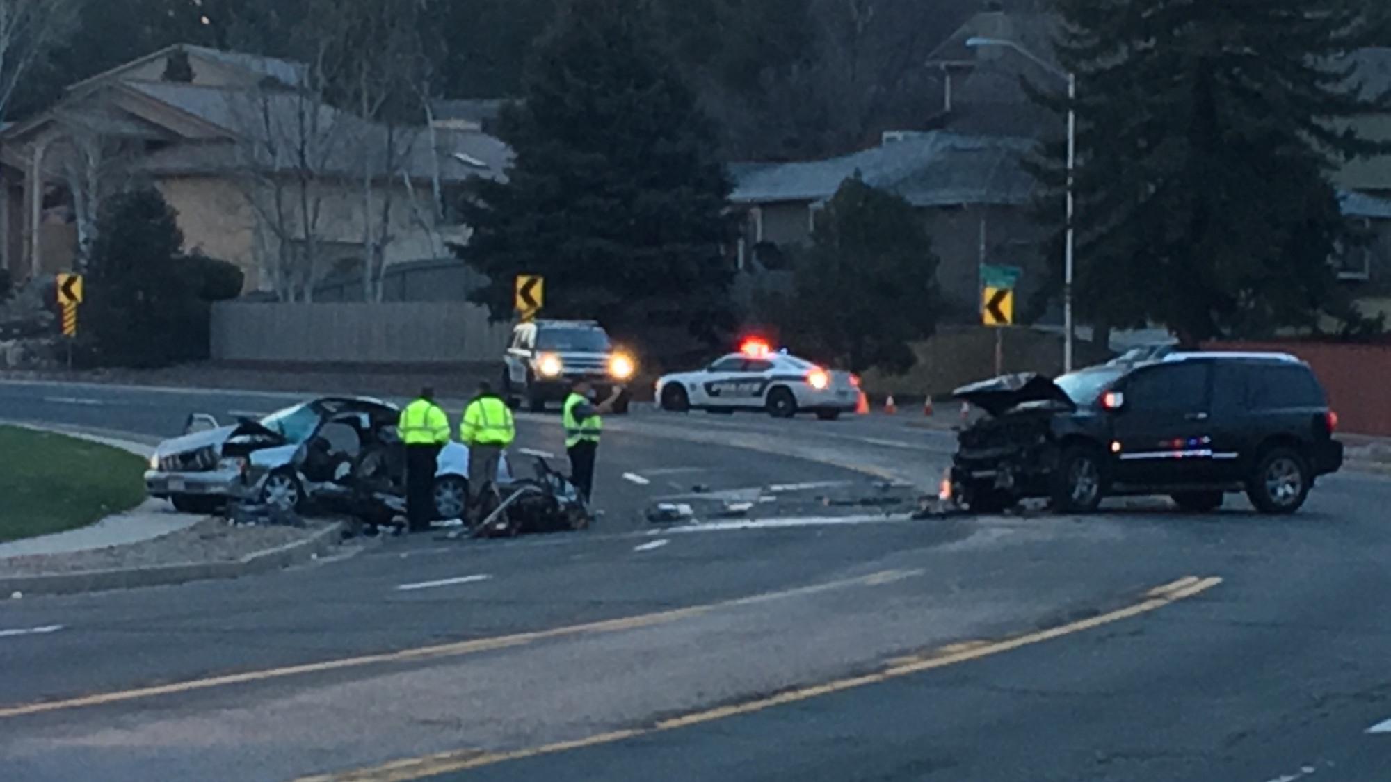 Police investigate a crash on Maizeland Road in central Colorado Springs Wednesday morning. Paula Buck - FOX21 News