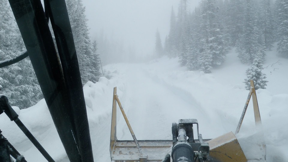 Conditions continueto deteriorate for park snowplow operators along Trail Ridge Road on Monday afternoon. Photo courtesy Rocky Mountain National Pa