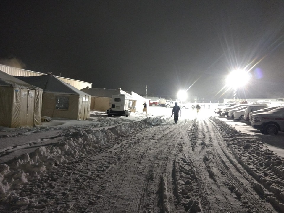 Snow at the Decker Fire incident command post Thursday morning. / Photo by Rita Baysinger via Decker Fire Facebook page
