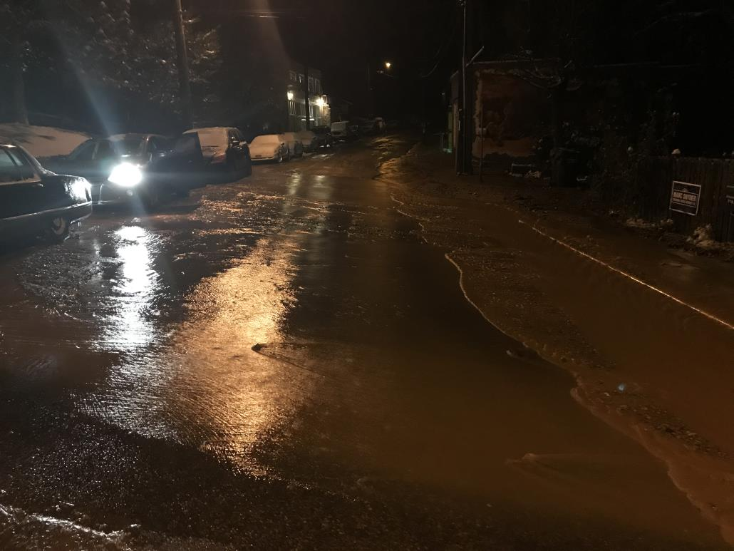 A water main break in Manitou Springs Monday night. / Courtesy City of Manitou Springs
