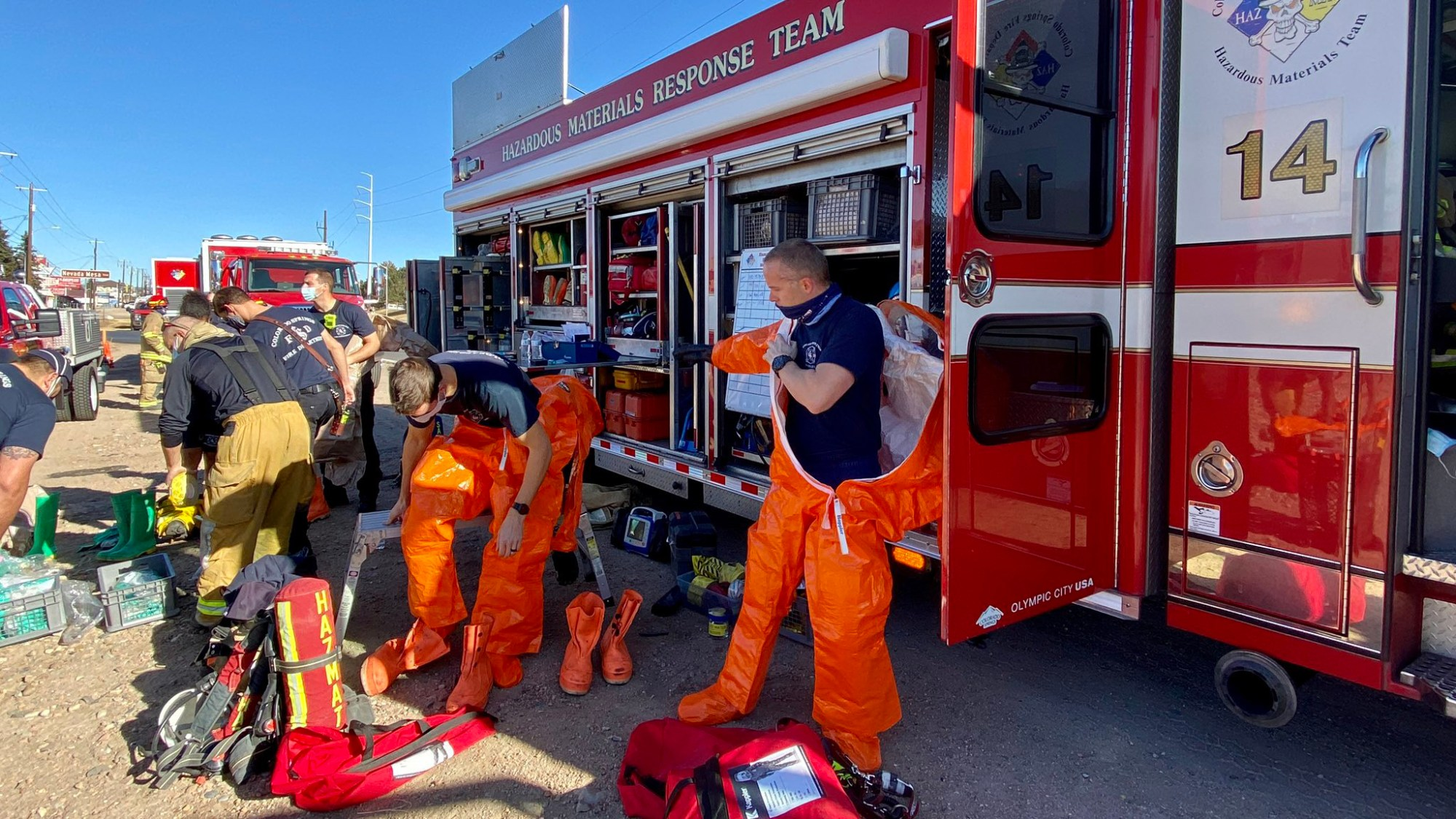 Firefighters respond to a nitric acid leak on Nevada Avenue Monday. / Courtesy Colorado Springs Fire Department