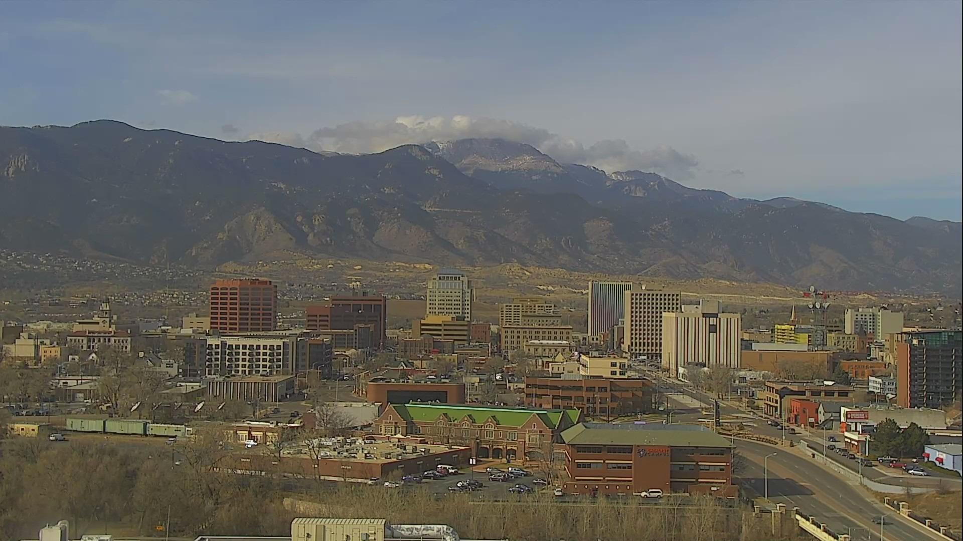 The Colorado Springs skyline around 10:30 a.m. Monday.