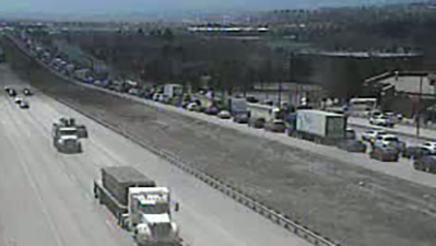 Southbound traffic at a standstill on Interstate 25 due to a crash Monday afternoon. / Courtesy CDOT
