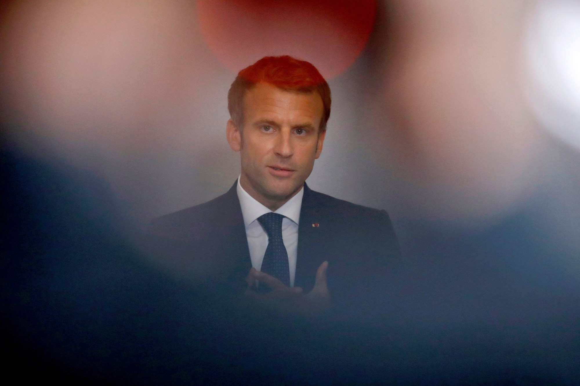 French President Macron delivers a speech at the national convention on mental health and psychiatry in Paris
