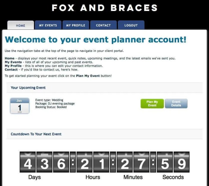 screen shots of an online music event planner