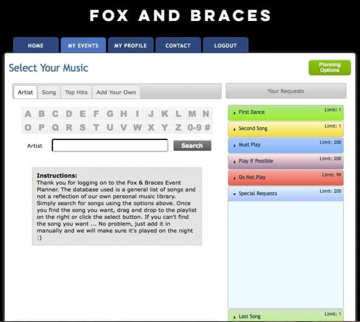 picture of a song search system for planning wedding music