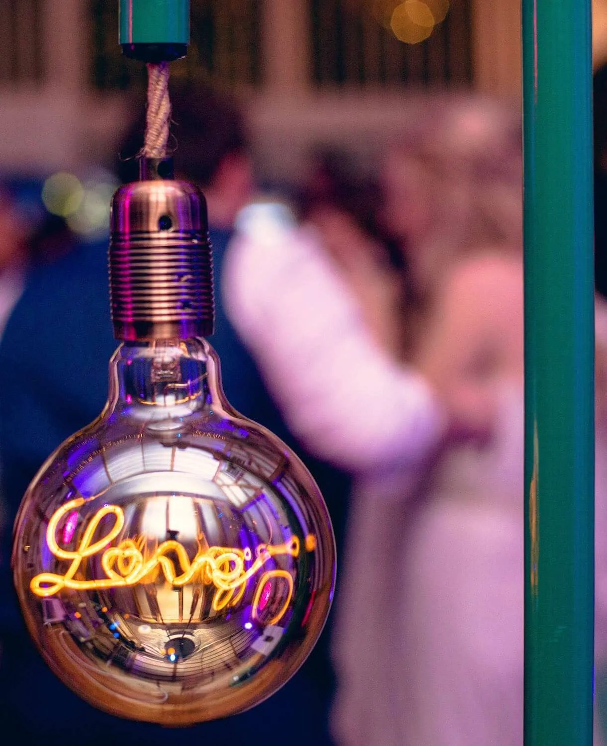 Rustic dj booth with love heart lightbulb