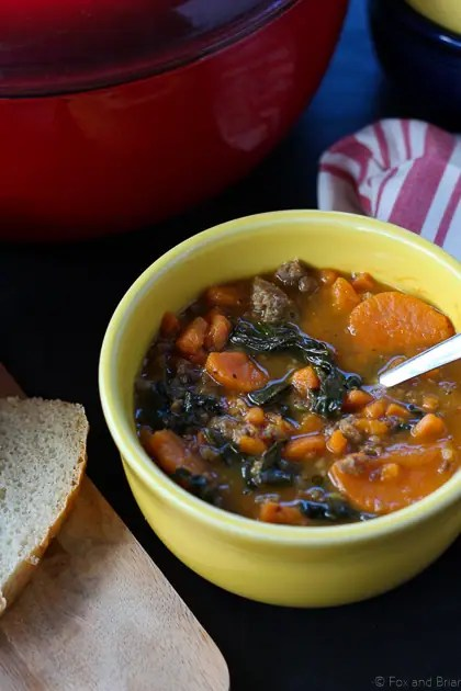 Sausage, Kale and Sweet Potato Stew from Fox and Briar