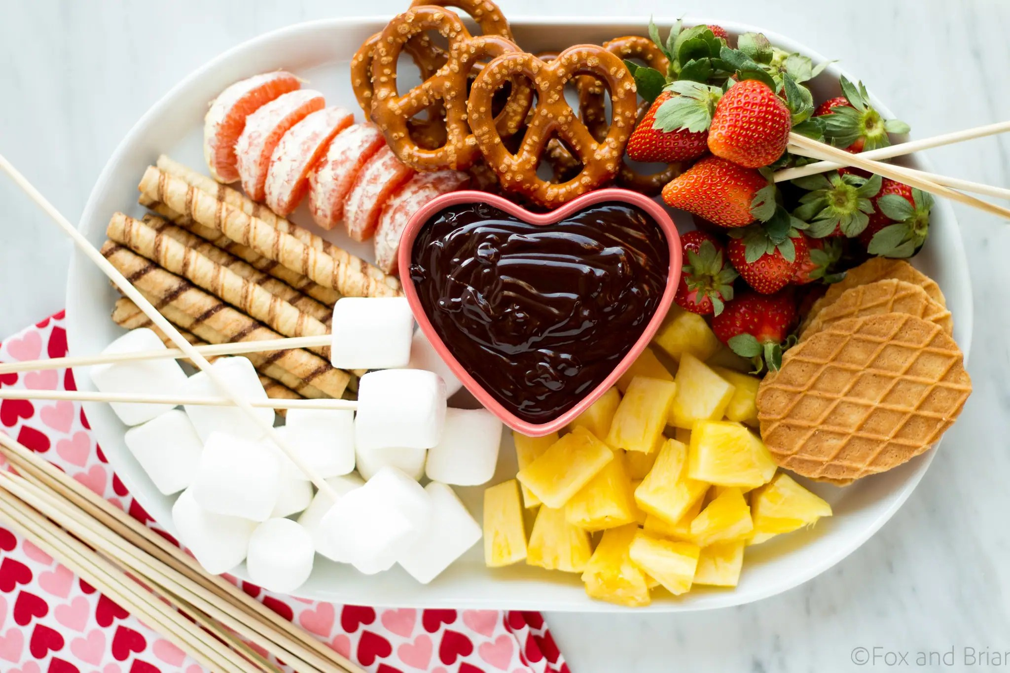 This easy chocolate fondue is a fun dessert for a romantic valentine's day dinner or party. It is rich and chocolaty and doesn't even require a fondue pot!