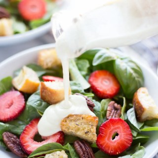 Strawberry Basil Pecan Salad with Goat Cheese Dressing