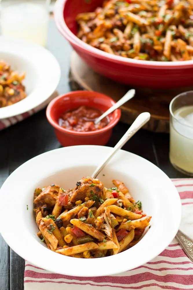 This Chicken Taco Pasta dish takes less than 30 minutes to make and is packed full of flavors that the whole family will love! #ad #HealthyPastaMonth