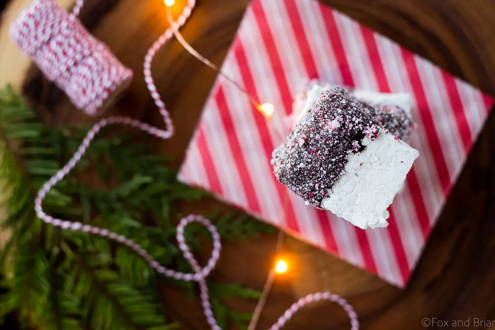 These Homemade Peppermint Marshmallows are so easy to make! Perfect for gifting or to put in your hot cocoa!