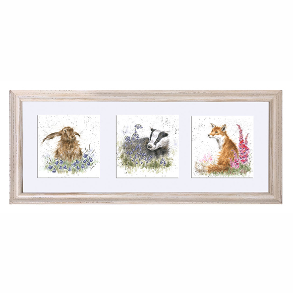 A Trio Of Woodland Flora And Fauna Triple Framed Print