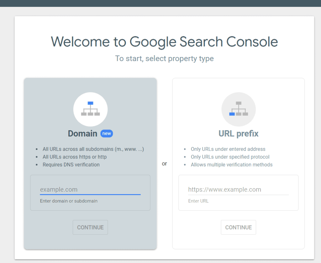 Google search console - Add property