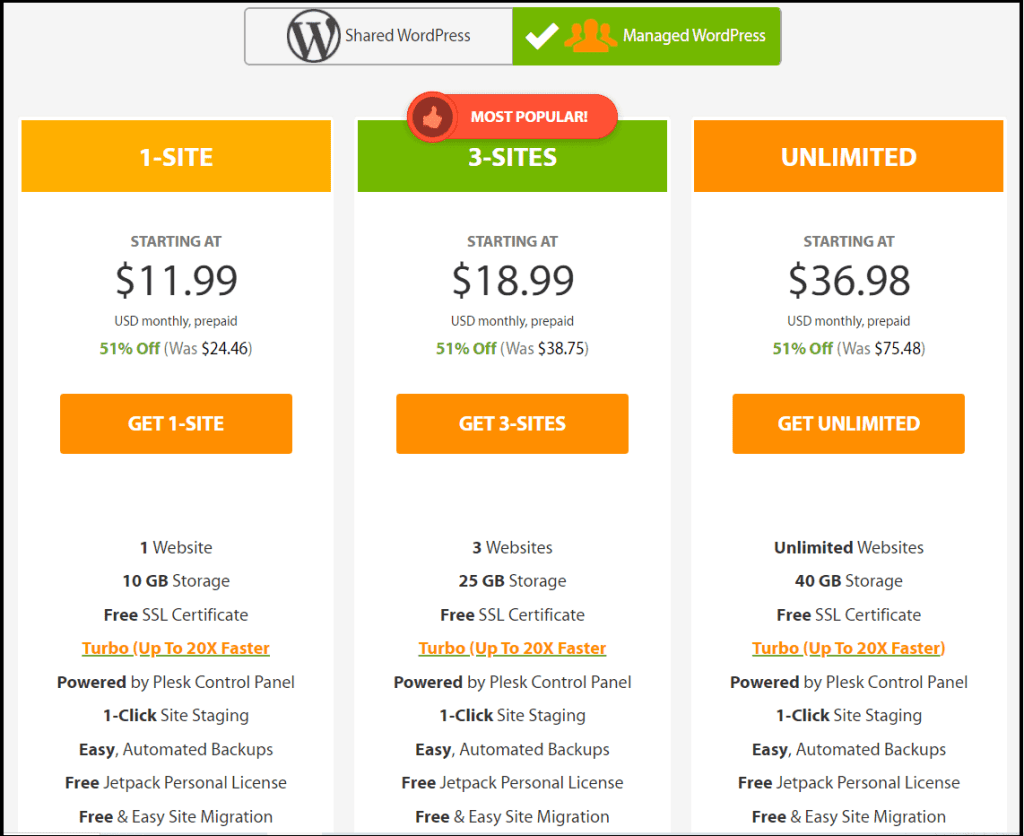 A2 hosting managed wordpress pricing list