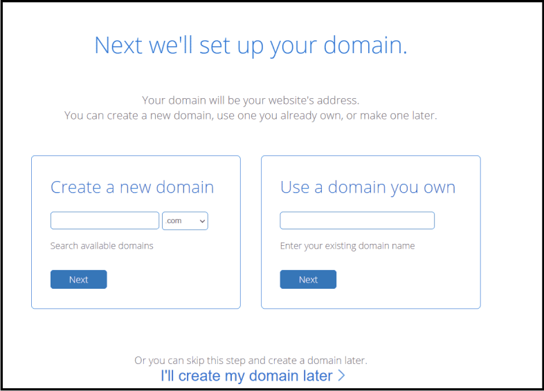 Enter the domain name