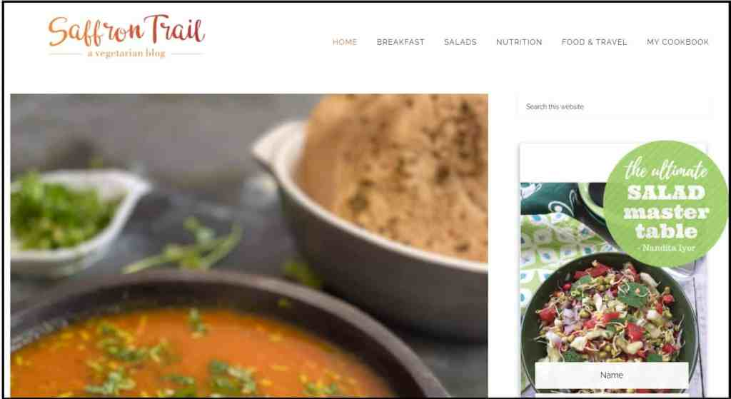 Best Food Blogs in India - Saffron trail