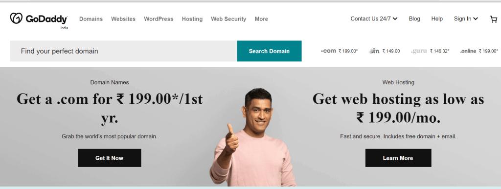 Best Indian hosting provider - Godaddy