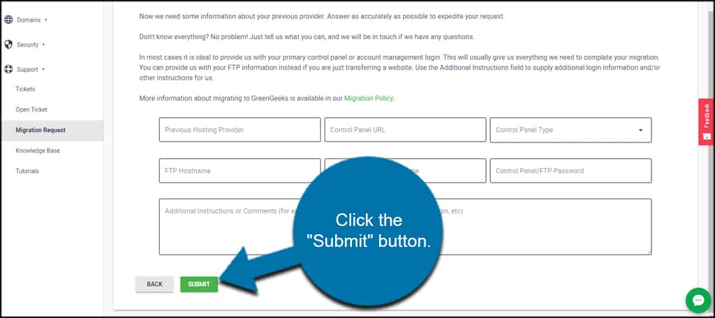 Submit the free migration form to web host