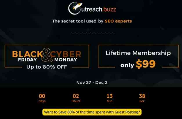 Outreach.buzz Black Friday deal prices