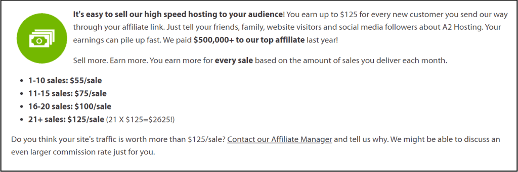 Direct in-house affiliate commission rates