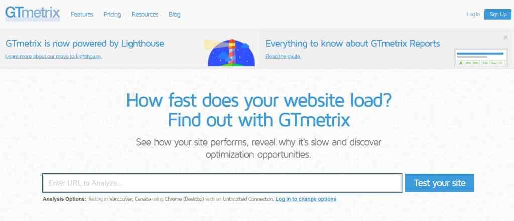 GT metrix - Page speed testing tool
